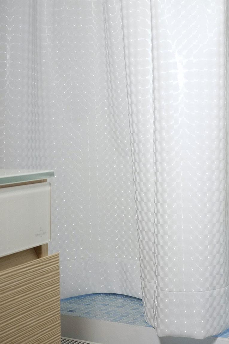 Tenture en tissu plastique effet 3D pour salle de douche.